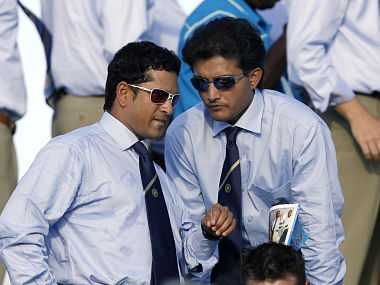 Indian cricketers Tendulkar and Ganguly chat before opening ceremonies of Cricket World Cup in Jamaica