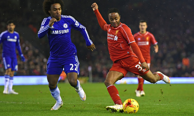 Liverpool's Raheem Sterling and Chelsea's Willian