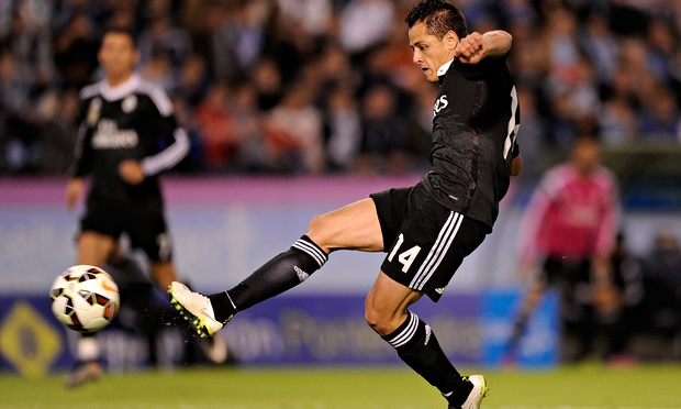 Javier Hernández of Real Madrid scores his second goal in the 4-2 win against Celta Vigo.