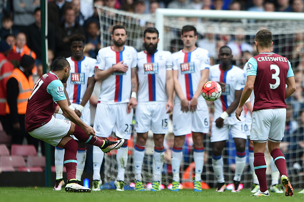 during the Barclays Premier League match between West Ham United and Crystal Palace at the Boleyn Ground on April 2, 2016 in London, England.